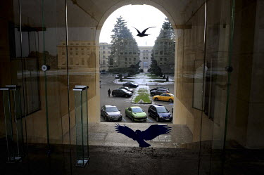 Bird silhouettes on a glass door at the Palais des Nations home of the United Nations in Geneva. It was originally built for the League of Nations and is the second largest UN site after New York. It...