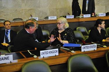 American Ambasador Laura Kennedy in discussion with Russian representative Victor Vasiliev at the COnference on Disarmament following a session devoted to fissile material. The Conference on Disarmame...