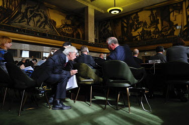 Russian diplomats, at the Conference on Disarmament, in discussion prior to the opening of the plenery session devoted to the prevention of an arms race in space. A draft for a treaty was first put to...
