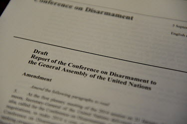 Proposed amendment's to the Conference on Disarmament's annual report to the UN General Assembly. The report can take several weeks to produce, with long discussions as to the exact wording of its con...