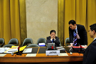 Hiroyuki Yamamoto deputy representative of the Japanese delegation during discussions following the end of the meeting, shortly before Japan ws due to take over the presdiency of the Conference on Dis...