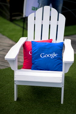 Pillows on a chair with the Google logo on them at the NOAH founders conference 'Leaders Connected 2015' at the Tempodrom. The NOAH Berlin conference, co-hosted with Axel Springer AG, took place on 09...