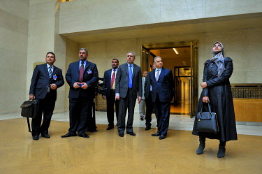 Members of the visiting Iraqi delegation at the Conference on Disarmament, with the country's then Vice President Dr Khudier AIKhuzaie (with blue tie), who has just addressed the conference, one of se...