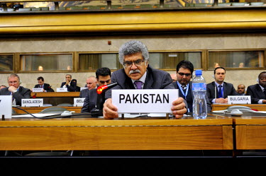 Ambassador Akram of Pakistan at the Conference on Disarmament. Since 2009 Pakistan has held up efforts to establish a plan of work and has thus prevented progress on a treaty to ban production of fiss...