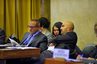 French diplomats in discussion at the Conference on Disarmament. The French Ambassador Jean-Hugues Simon-Michel at left, made a statement to the conference stressing the importance of negotiation on f...