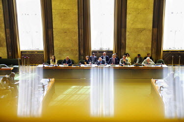 Delegates listen to an address by Ambassador Mari Amano of Japan at the opening of the day's business at the Conference on Disarmament: '67 years ago yesterday, on the 6th August, an atomic bomb was d...