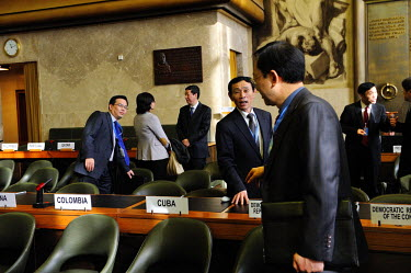 Jon Yong Ryong, First Secretary of North Korea's mission in Geneva, in an exchange with a South Korean diplomat at the end of a meeting of the Conference on Disarmament in which North Korea's third nu...