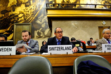 Swiss representative to the Conference on Disarmament Urs Schmid proposing measures of reform to the conference where deadlock has prevented agreement at the conference since it negotiated the 1996 Co...