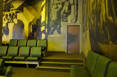 A back exit from the public viewing gallery of the Council Chamber which was originally completed in 1936 for the League of Nations. The Conference on Disarmament, established in 1979, is the only for...