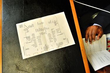 Seating plan for the layout of names etc, on the desk of a conference officer, a UN employee. The seating changes every four weeks, as the Presidency changes, each counrty moving round one place, as t...