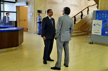 A rare corridor discussion between B Venkatesh Varma, Permament Representative of India to the Conference on Disarmament, and Ambassador Munir Akram of Pakistan. As it has been Pakistan that has sever...