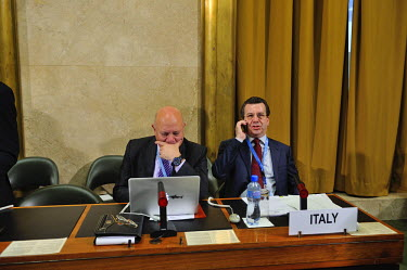Italian diplomats prior to the opening session of the year at the Conference on Disarmament. The Italian delegation will take the presidency the following month. The Conference on Disarmament, establi...