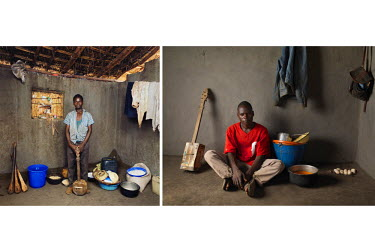 Left: 2015, Mahamidu 'Banjo Boy' Charles (15) stands in his house with a banjo. He bought the musical instrument for the equivelent of GBP 0.50 . He writes and sings songs about various social issues...