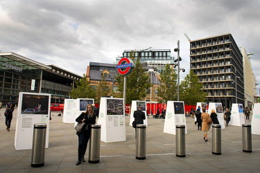 A view of the outdoor ^Comeback from Crisis^ exhibition at Battlebridge Place between London's St Pancras International and King's Cross stations. The exhibition was produced in partnership between Co...