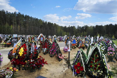 A cemetery in Slavutych a town built to house workerse evacuated from Pripyat following the 1986 Chernobyl Nuclear Power Plant disaster