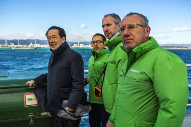 Naoto Kan (Prime Minister of Japan during the Fukushima nuclear accident) on board the Greenpeace Rainbow Warrior sailing off the coast of Fukushima calling for the closure of all nuclear reactors in...