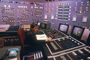 The control room at the Zaporizhzha nuclear power plant. In case of an emergency the operator would have to use the rotary dial phone shown in the photo to contact the outside world.