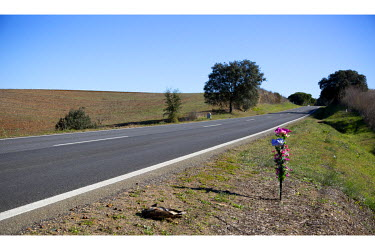 A roadside memorial for a traffic acident victim on the N18 national road near Ervidel.