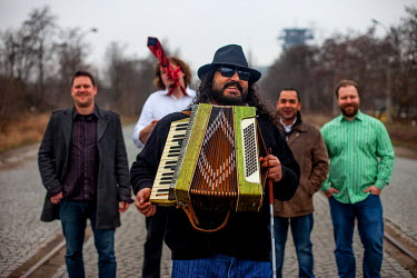 Mario Bihari with his band Bachtale Apsa in Prague. Mario is a well known blind Roma musician originally from Slovakia living since he finished his studies in Prague, Czech Republic. Beside being a ve...