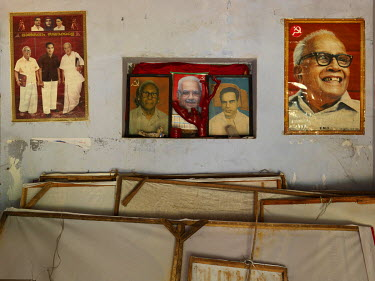 Portraits on a wall in the Karthikappally regional committee office of the Communist Party of India including, on the far right, Elamkulam Manakkal Sankaran Namboodiripad, the late Communist Party of...