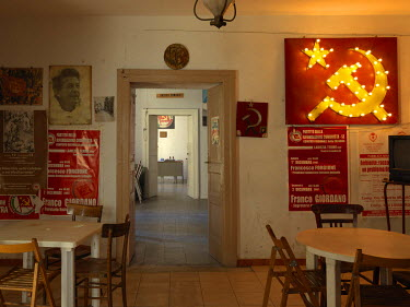Communist imagery on the walls of the Communist Refoundation Party's (PRC) Milei Veneziano circle office.