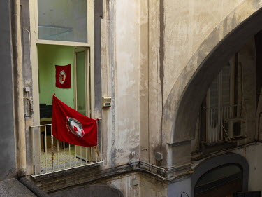 Communist flags in the Communist Refoundation Party's (PRC) provincial federation of Naples office.