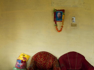 A picture of Mao on the wall in the Buwal district party office of the Communist Party of Nepal Maoist, led by Netra Bikram Chanda (aka 'Biplab').