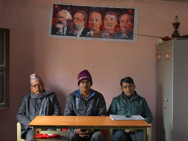 Members of the Communist Party of Nepal (Revolutionary Maoist), aka CPN-Maoist (Baidya) in the Bhairahawa district contact office. From left to right: Ram Prasad Pkharel Baburam, officer in charge of...