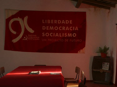 A banner on a wall in the Communist Party of Portugal's Borba office.