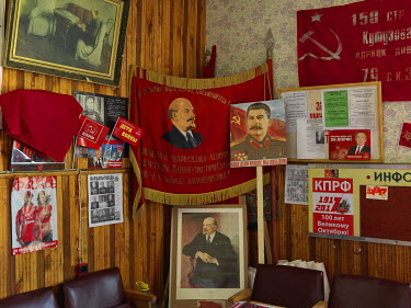 Various communist paraphernalia in the Communist Party of the Russian Federation's Dmitriev office.