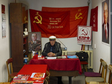 First secretary of the district, Nikolai Mikhailovich Kirillov, in the Communist Party of the Russian Federation's Opochka office.