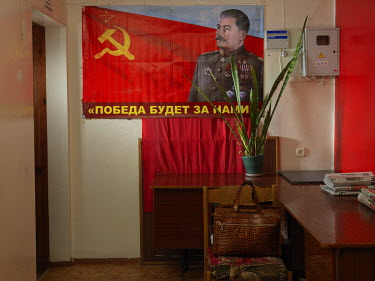 A portrait of Stalin in the Communist Party of the Russian Federation's Velikiye Luki office.