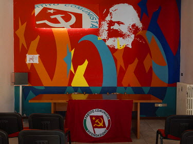 A mural of Karl Marx in the Bergamo office of the Communist Refoundation Party (PRC).