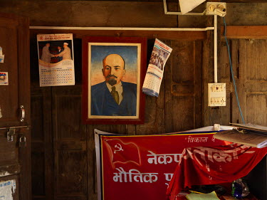 A portrait of Lenin in a storage office at the Communist Party of Nepal (Unified Marxist Leninist), aka CPN (UML) district standing committee office.