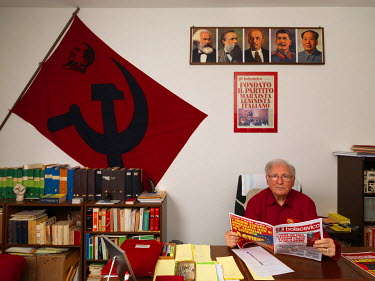 General secretary Giovanni Scuderi, one of the 4 founders of the party in 1967, in the head office of the Marxist-Leninist Party (PMLI).