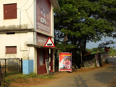A poster mourning Fidel Castro's death outside the Communist Party of India's (CPI) Pudukad Mandalam Council Office.