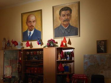 Paintings of Lenin and Stalin at the KPRF (Communist Party of the Russian Federation), Obkom (Regional Committee of the Oblast Leningrad).