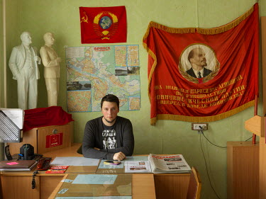 First Secretary Dmitri Shmelyov, a psychologist and consultant, at the KPRF Rykom (rayon committee) office in Fokin district.