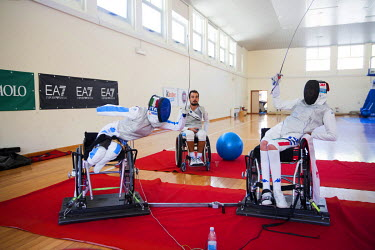 Italian champion wheelchair fencer Bebe Vio (19) and colleagues from the national wheelchair fencing team training for the Paralympics in Rio, where she won gold. She lost both legs and forearms aged...
