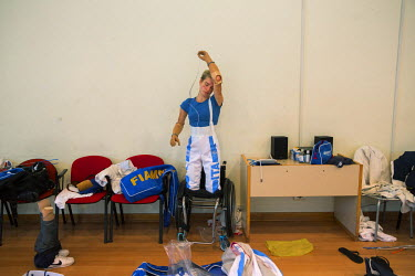 Italian champion wheelchair fencer Bebe Vio training for the Paralympics in Rio, where she won gold. She lost both legs and forearms aged 11 after she got meningitis.