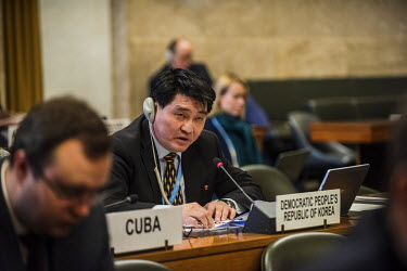 North Korean diplomat, Ju Yong Chol challenging the statements made by the U.S. Ambassador during a presentation of the new and controversial United States Nuclear Posture Review at a plenary meeting...