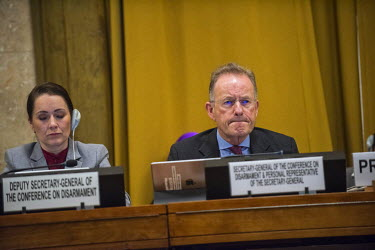 MIchael Moller, head of the UN in Geneva and in this role, the Secretary General of the Conference on Disarmament and Perosnal Representative of the Secretary General - next to his Depuy in the confer...