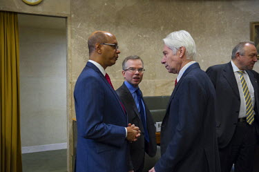 U.S. Ambassador Robert Wood, talking with Russian diplomats prior to presenting the United States Nuclear Posture Review to other states at the Conference on Disarmament, the only standing multilatera...