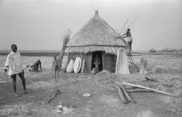 A remote Nuer cattle camp by the Baro River near the Sudanese border.
