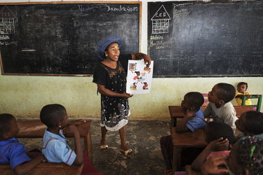 A teacher explains standard hygiene mesures to her class at the Notre Dame orphanage and school.
