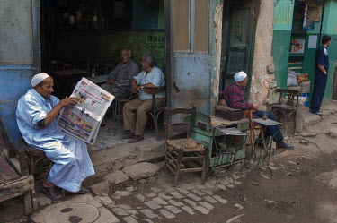 Men relax at a cafe in the Khan el Khalili.