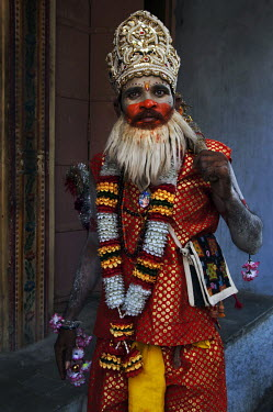 A man dressed as Hanuman (the monkey god) at Pushkar Fair.