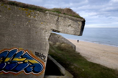 A World War Two German concrete bunker (part of the Nazis' Atlantic Wall defence infrastructure) on Utah Beach, one of the five landing sites along the Normandy coast where allied forces landed on D-D...