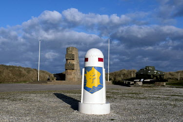 A memorial on Utah Beach, one of the five landing sites along the Normandy coast where allied forces landed on D-Day, 6 June 1944, as Operation Overlord, the invasion of western Europe, was set in mot...