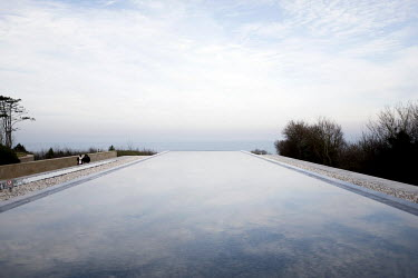 A water installation at the Normandy American Cemetery Visitor Center overlooking Omaha Beach. The beach is one of the five landing sites along the Normandy coast where allied forces landed on D-Day,...